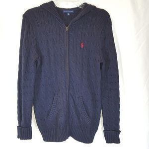 Ralph Lauren Zip Hoodie Cable Knit Navy Red logo